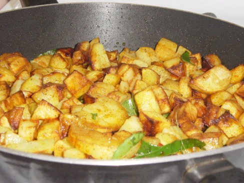 Govinda Dasu Aloo Fry with Karipatha (Curry Leaves)Ready